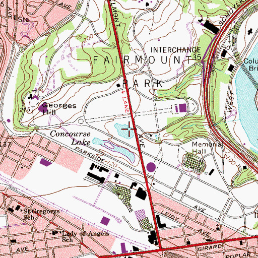 Topographic Map of Centennial Lake, PA