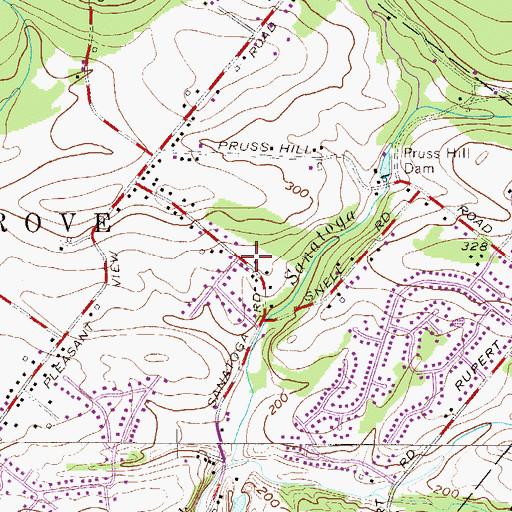 Topographic Map of Pleasant View Acres, PA