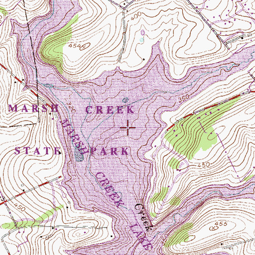 Topographic Map of Marsh Creek Reservoir, PA