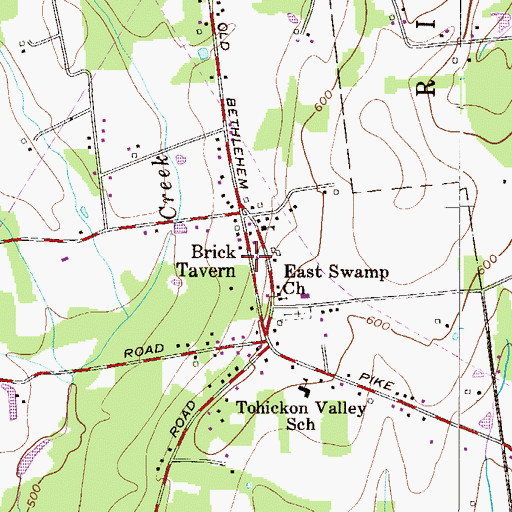 Topographic Map of Brick Tavern, PA