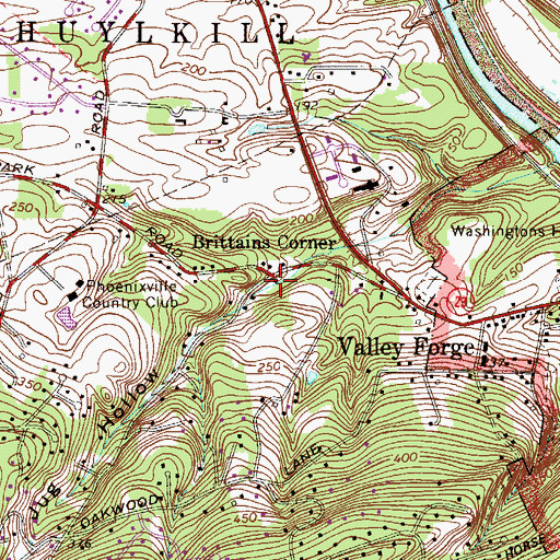 Topographic Map of Brittains Corner, PA