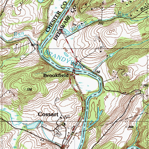 Topographic Map of Brookfield, PA