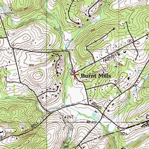 Topographic Map of Burnt Mills, PA