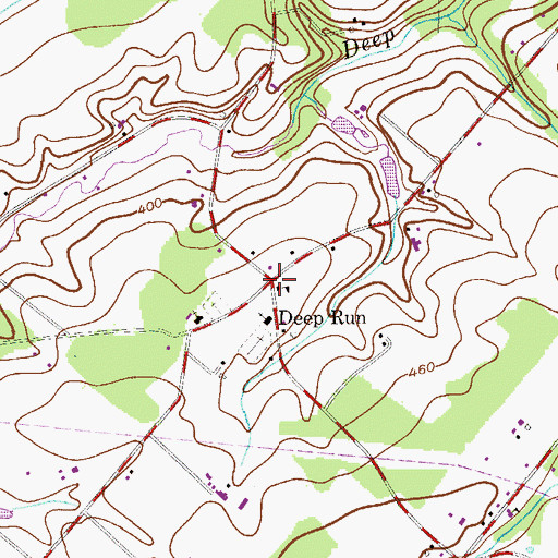 Topographic Map of Deep Run, PA