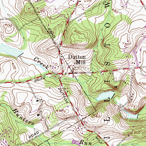 Topographic Map of Dutton Mill, PA