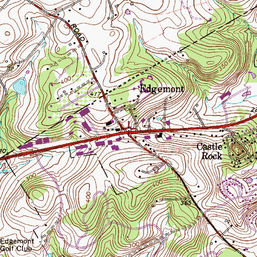 Topographic Map of Edgemont, PA