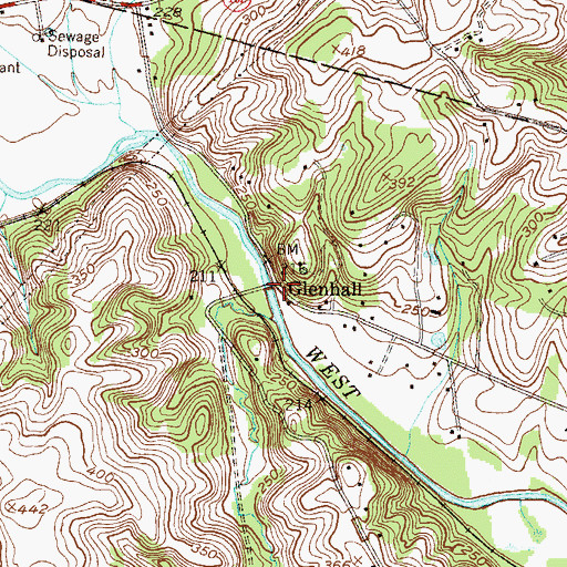 Topographic Map of Glenhall, PA