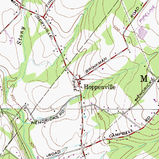 Topographic Map of Hoppenville, PA