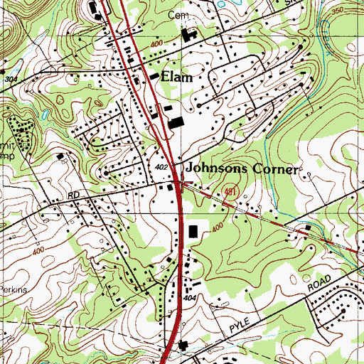 Topographic Map of Johnsons Corner, PA