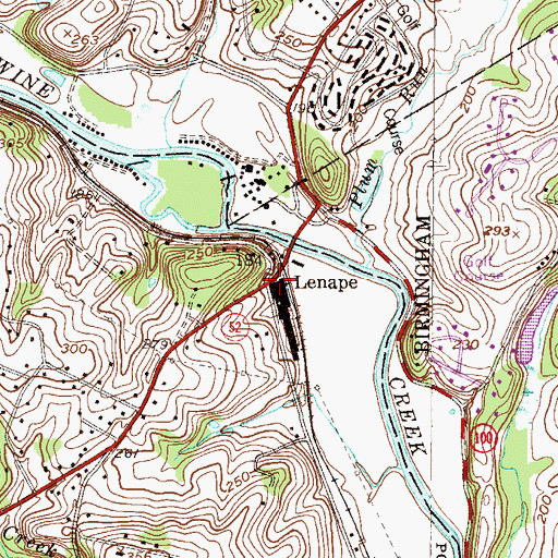 Topographic Map of Lenape, PA