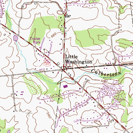 Topographic Map of Little Washington, PA