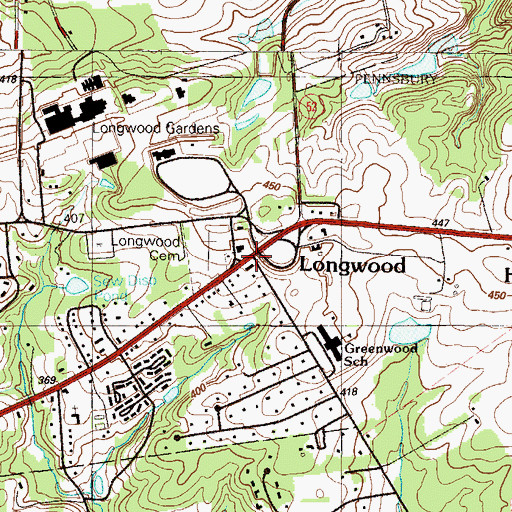 Topographic Map of Longwood, PA