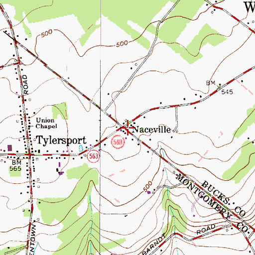 Topographic Map of Naceville, PA