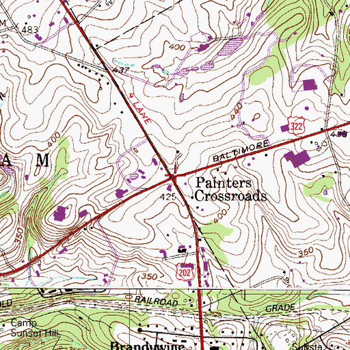 Topographic Map of Painters Crossroads, PA