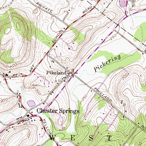 Topographic Map of Pikeland, PA