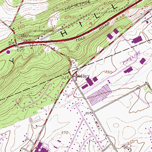 Topographic Map of Sidley, PA