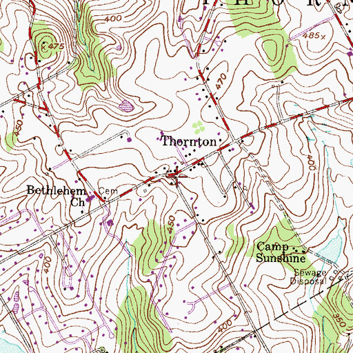 Topographic Map of Thornton, PA