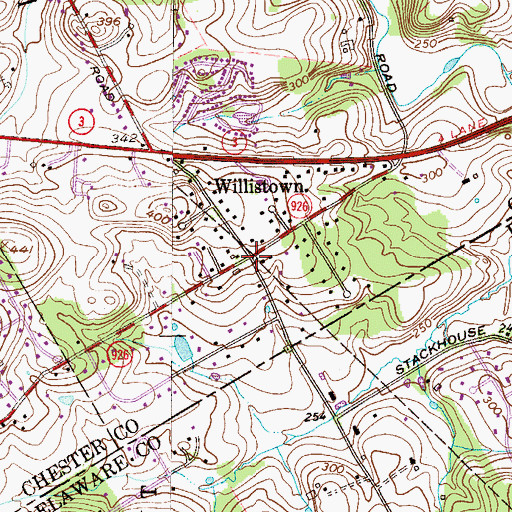 Topographic Map of Willistown, PA