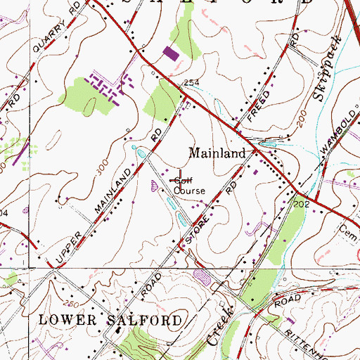 Topographic Map of Twin Lakes Country Club, PA