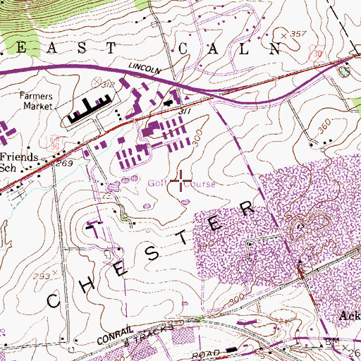 Topographic Map of Downingtown Inn Golf Course, PA