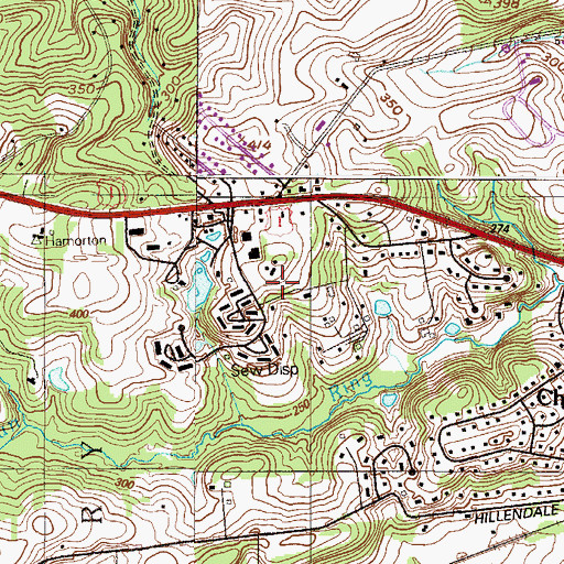 Topographic Map of Chadds Peak Camp and Ski School, PA