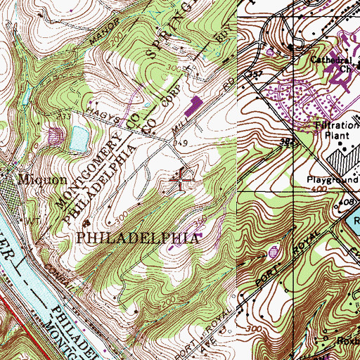 Topographic Map of Rockdale, PA