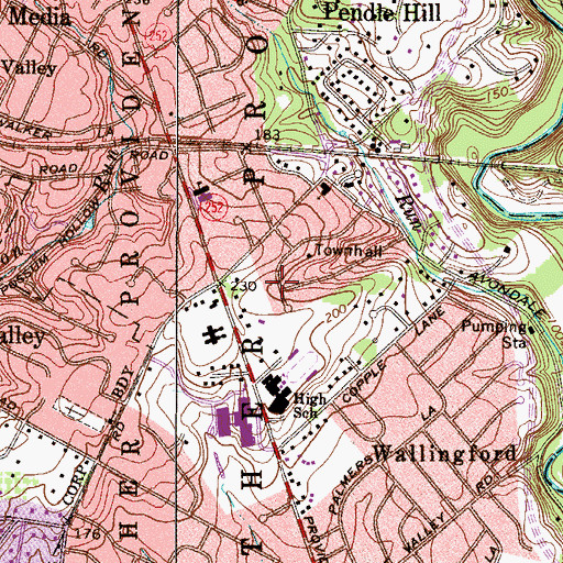 Topographic Map of Hinkson Cors, PA