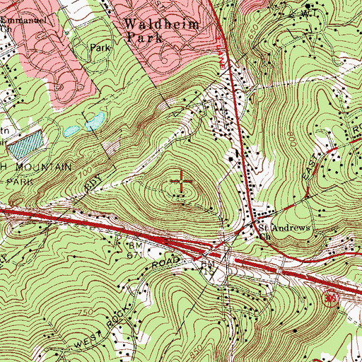 Topographic Map of Jasper Cliffs, PA