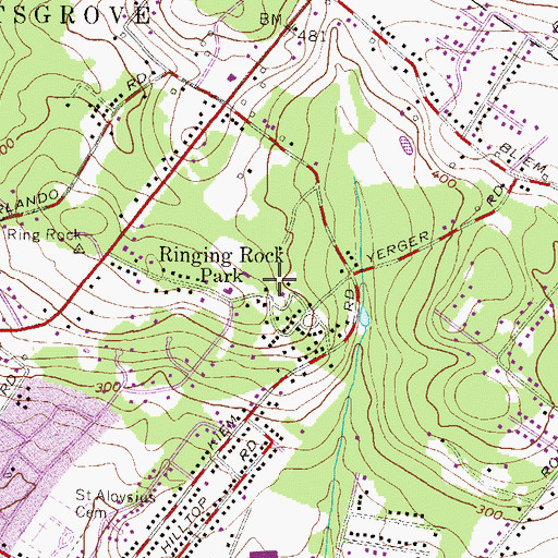 Topographic Map of Ringing Rocks, PA