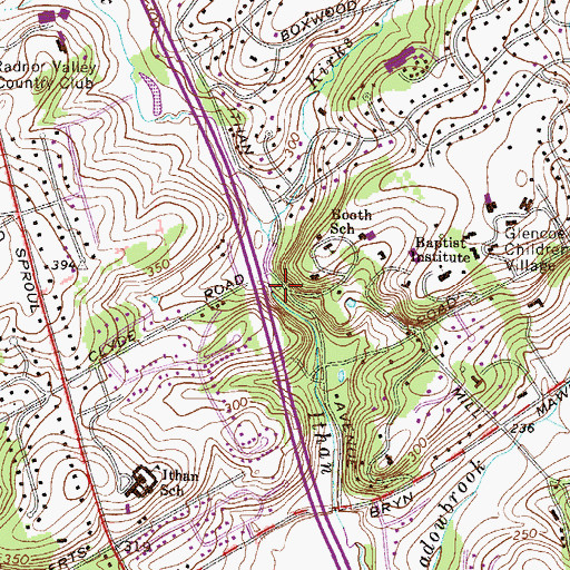Topographic Map of Ithan Mills, PA