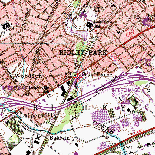 Topographic Map of Crumlynn Station, PA