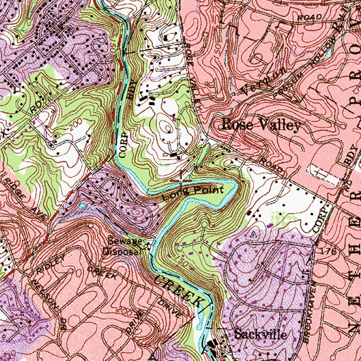 Topographic Map of Rosevalley Mills, PA