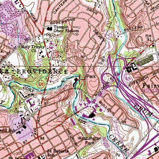 Topographic Map of Crosbyville, PA