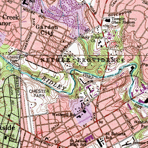 Topographic Map of Waterville, PA