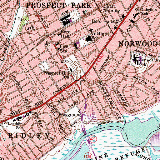 Topographic Map of Ridleyville, PA