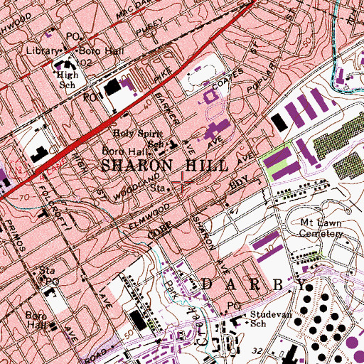 Topographic Map of Sharon Hill Station, PA