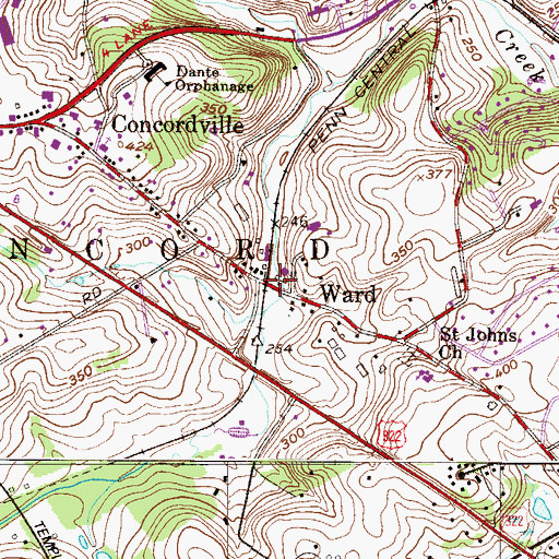 Topographic Map of Concord Station, PA