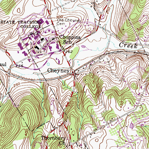 Topographic Map of Cheyney Station, PA