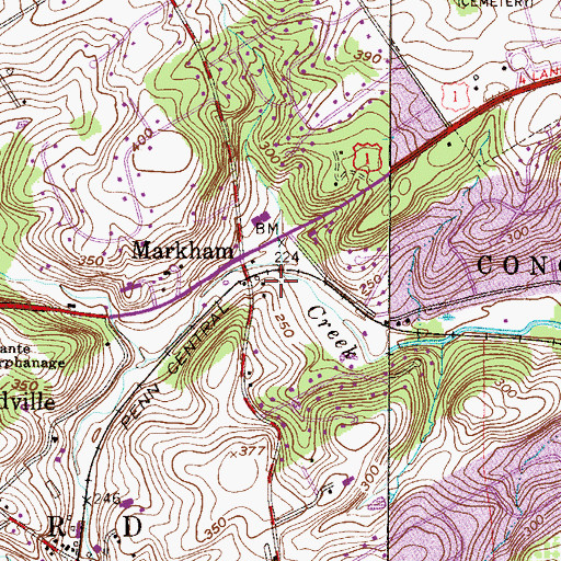 Topographic Map of Woodland Station, PA