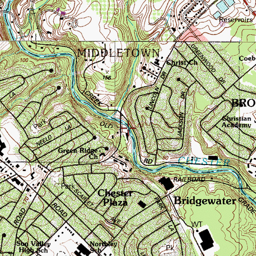 Topographic Map of Morgans Station, PA