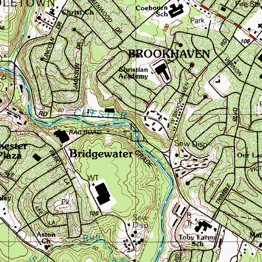 Topographic Map of Bridgewater Station, PA