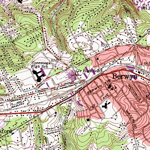 Topographic Map of Tredyffrin / Easttown Middle School, PA
