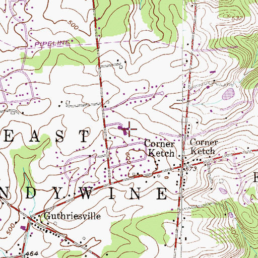 Topographic Map of Brandywine Wallace Elementary School, PA