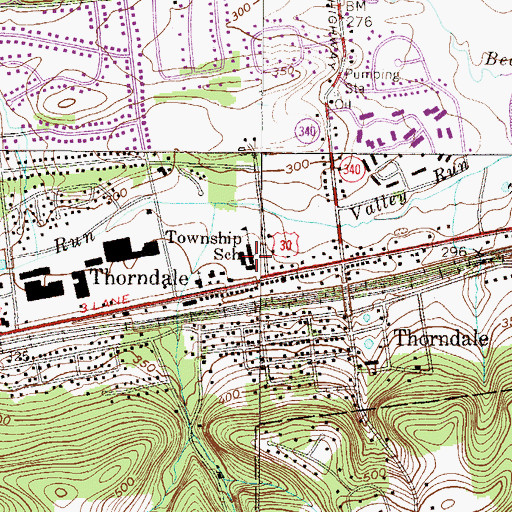 Topographic Map of Caln Elementary School, PA