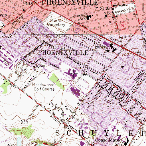 Topographic Map of Phoenixville Area Senior High School, PA