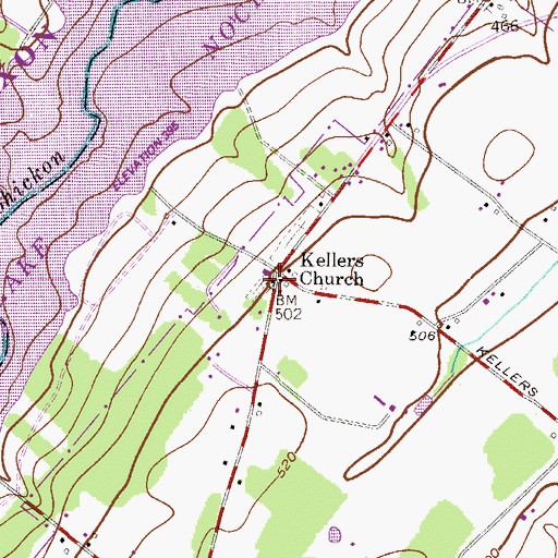 Topographic Map of Saint Matthews Evangelical Lutheran Church, PA