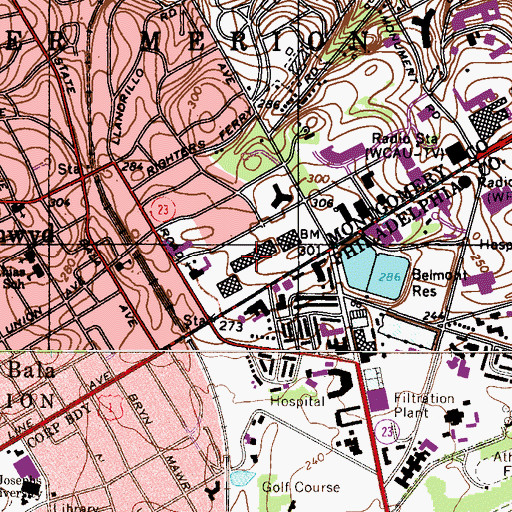 Topographic Map of Bala Cynwyd Shopping Center, PA