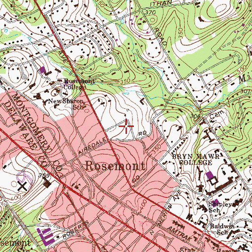 Topographic Map of Rosemont Park, PA