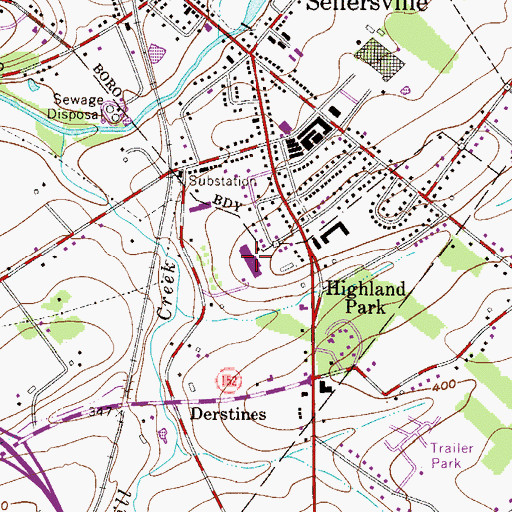 Topographic Map of Sellersville Elementary School, PA
