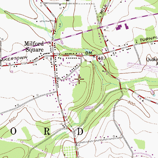 Topographic Map of Milford Park, PA